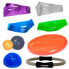 Kit 4 Mini Bands + 2 Bolas Cravo + Disco com Anel Pilates + Meia Bola Cravo 16 Cm